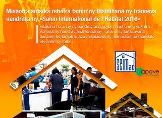 SEIMad, anisan'ireo mpandray anjara nandritra ny « Salon International de l'Habitat 2016 » ny 20 hatramin'ny 23 Oktobra 2016.